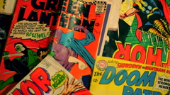 T302 editorial Comic books retro vintage comic collection Stock Footage