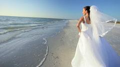 Beach Bride in her Wedding Dress Stock Footage
