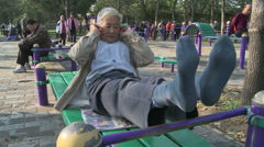 Old people working out Stock Footage