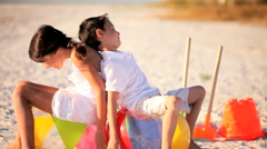 Sibling Rivalry on the Beach Stock Footage