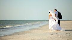 Wedding Couple on the Beach Stock Footage