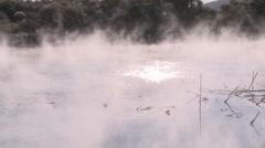 Hot geothermal pond pan Stock Footage