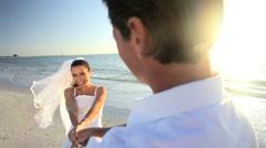Beach Wedding Couple Stock Footage