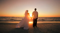 Sunset Wedding Kiss - stock footage