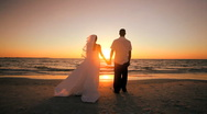 Stock Video Footage of Sunset Wedding Kiss