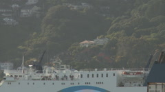 Top of a ferry as it leaves port Stock Footage