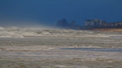 Waves and buildings in Ormond Beach, Florida Stock Footage