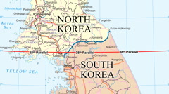 KOREAN DEMILITARIZED ZONE (moving map) Stock Footage
