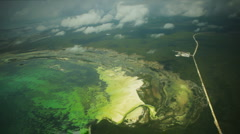 Aerial over Tropical Lagoon Stock Footage