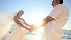Bride & Groom Beach Kiss Stock Footage