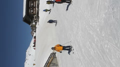 Skiers at Kleine Scheidegg, Switzerland Stock Footage