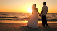 Sunset Wedding Kiss Stock Footage