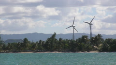 Puerto Rico - HD 60p Beach Wind Electric Generator Turbines Stock Footage