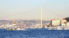 Istanbul city ferryboat Stock Footage