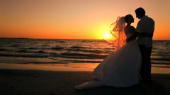 Sunset Wedding on the Beach Stock Footage