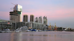 City Harbor Day to Night Stock Footage