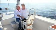 Stock Video Footage of Seniors Aboard Luxury Yacht
