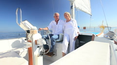 Seniors Sailing Their Luxury Yacht Stock Footage