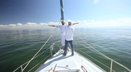 Stock Video Footage of Seniors Fun on Board a Yacht