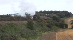 Old style steam train pulling passenger carriages - stock footage