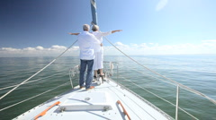 Seniors Fun on Board a Yacht - stock footage