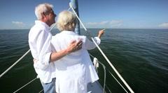 Stock Video Footage of Mature Couple on Luxury Yacht