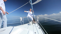 Seniors Yachting Lifestyle Stock Footage