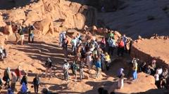 Pilgrims. Moses Mountain. Sinai Peninsula. Egypt - stock footage