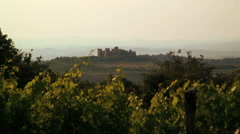 Castle and vineyard in the countryside, nr Pienza, Tuscany, Italy - stock footage