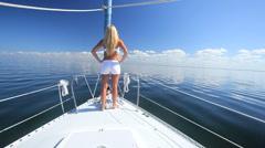 Girl in Swimwear Aboard Yacht Stock Footage