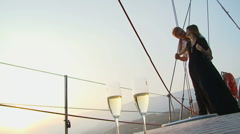 Romance on a yacht - stock footage