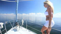 Luxury Yacht Sailing Girl - stock footage