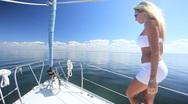 Luxury Yacht Sailing Girl Stock Footage
