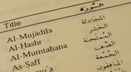 Stock Video Footage of list of chapters in the holy qur'an