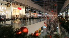 Christmas shop mania in shopping center Stock Footage