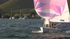 Sailing boat in action Stock Footage