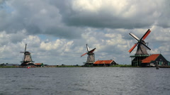 Zaanse Schans Skyline Timelapse Zaanstad, Province of North Holland, Windmills Stock Footage