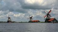 Zaanse Schans Skyline Timelapse Zaanstad, Province of North Holland, Windmills Stock Footage