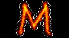 Fire letter M graffiti Stock Footage