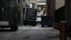Delivery Truck Parked in City Alley - stock footage