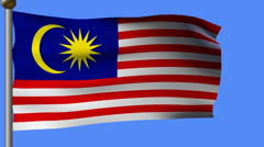 Malaysia flag on pole Stock Footage