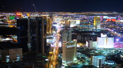 Las Vegas Skyline Timelapse Aerial View Cityscape Boulevard Strip Night Lights Stock Footage