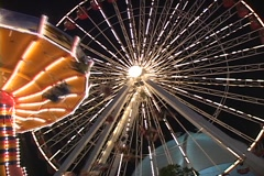 Amusement park at night 2 Stock Footage