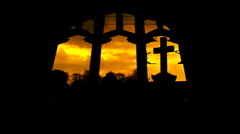 Looking through broken derelict church windows 15 - stock footage