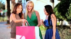 Girls Enjoying Retail Therapy Stock Footage
