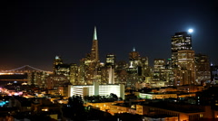 San Francisco Skyline Timelapse City Night Financial District Transamerica BLDG - stock footage