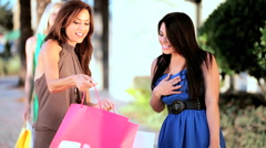 Girls Shopping Fun - stock footage