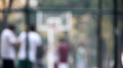 Basketball streetball blur background for blue green screen use Stock Footage