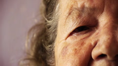 senior-old-woman-face-eye-wrinkle-skin-close-up HD - stock footage