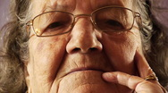 Stock Video Footage of Senior old woman face wrinkle skin close up
